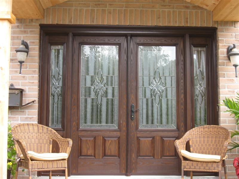 Decorative double doors with matching sidelights