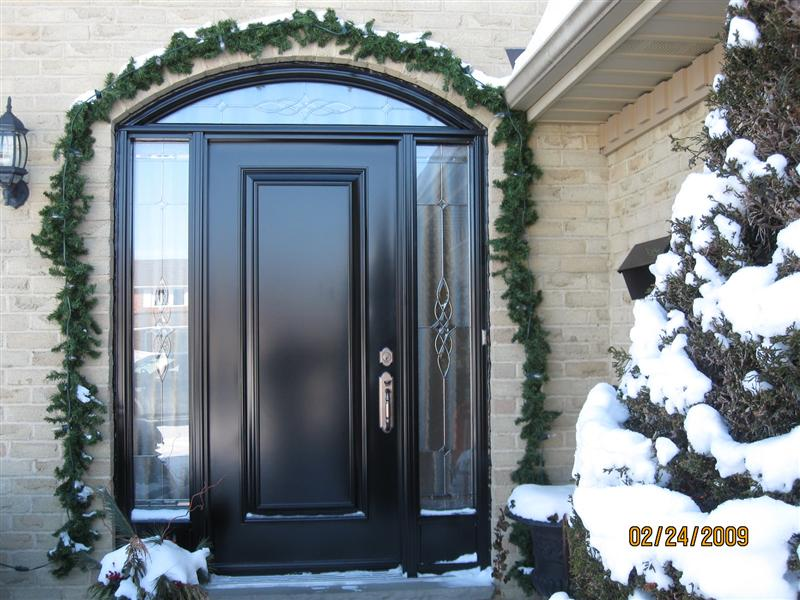 Executive panel door with sidelights and matching eliptical transom