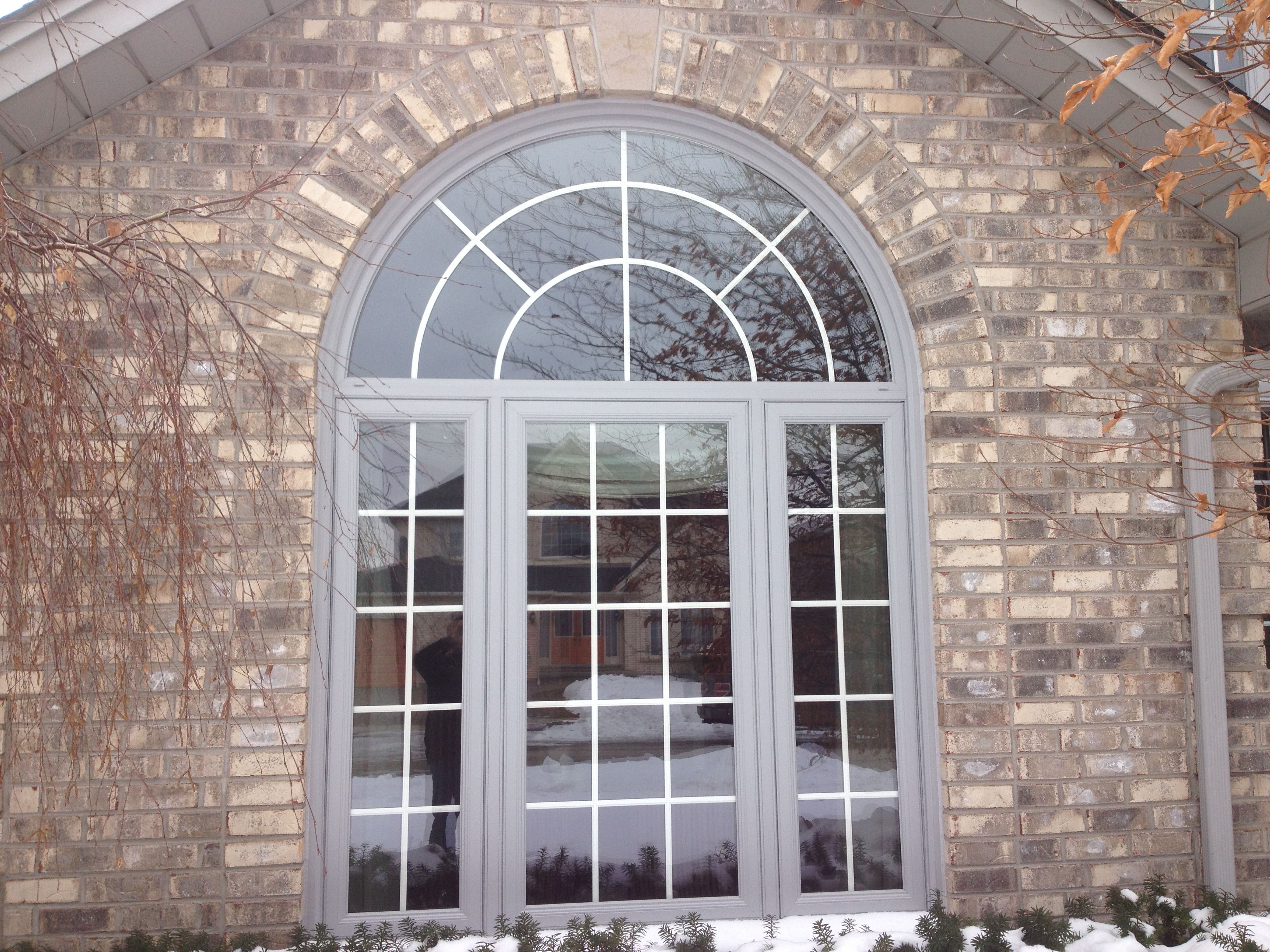 Fiberglass door and Round top windows attached