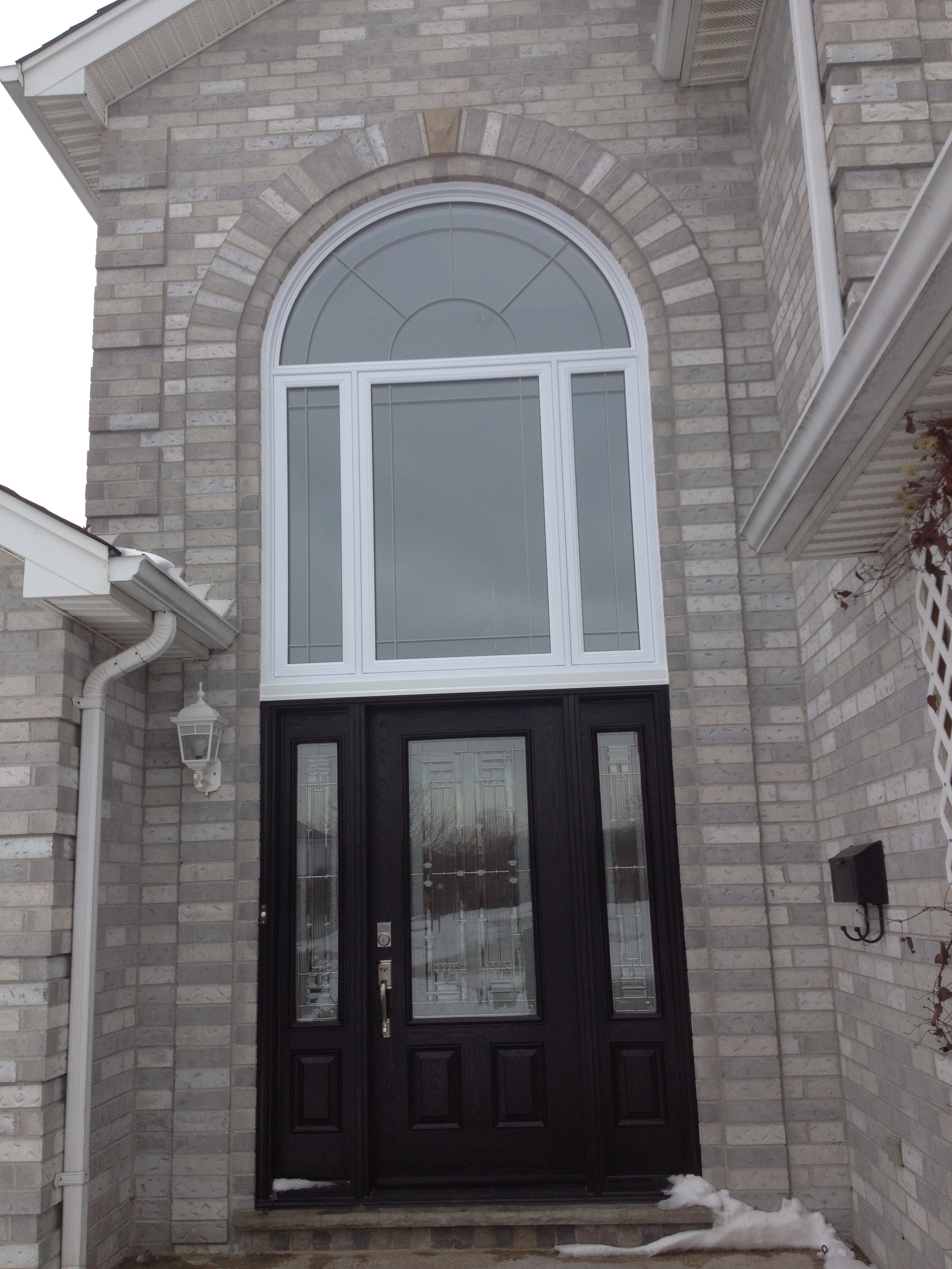 Fiberglass Door With Round Top Windows Above