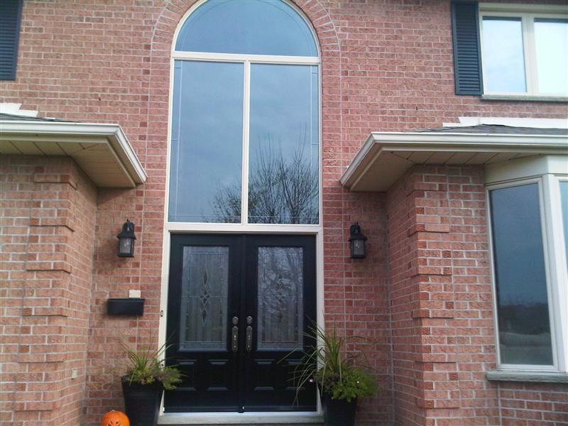 Front door system with new window attached